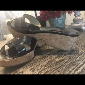 Shoes - Black patent leather JIMMY CHO0 Wedge Sandals 8